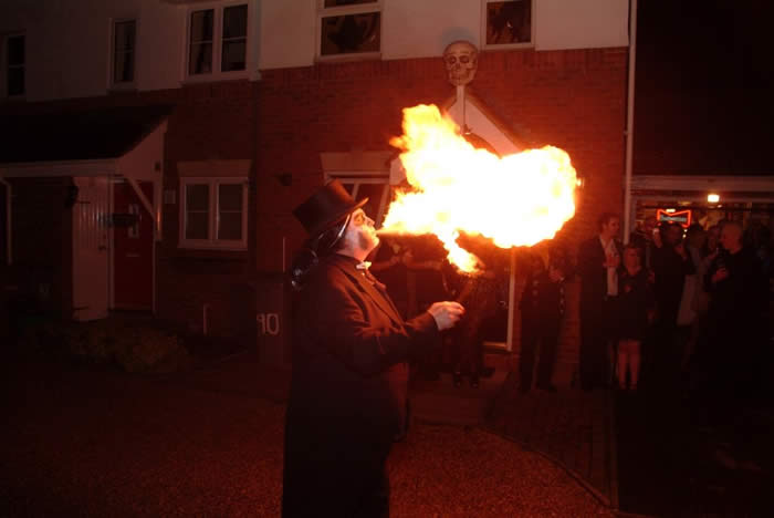 Warming up a skull at the Dead Wedding Party in Chelmsford