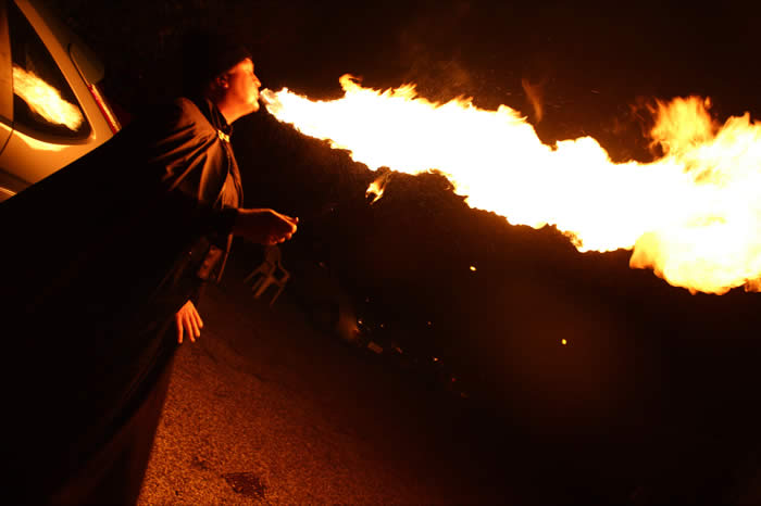Fire Breathing with long flames is OK when Not Windy