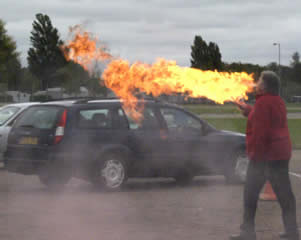 Fire breather Richard Palmer at the Spartan Races. So you don't want to move your car then.