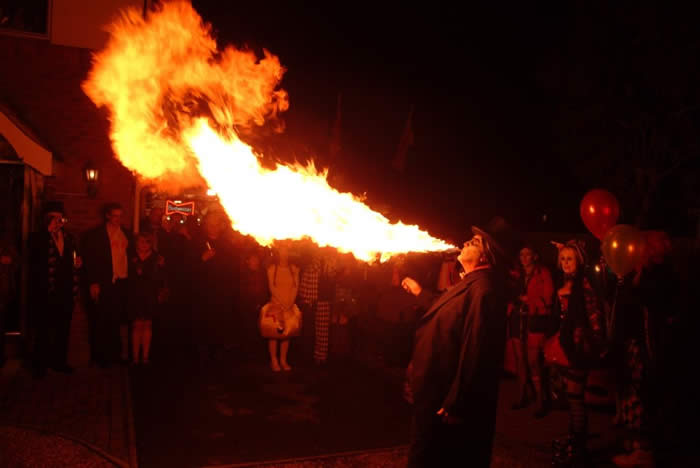 Essex Fire Breather at The Dead Wedding Halloween Party in Chelmsford