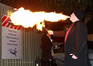 Fire Breather for Real at Props and Frocks, South Woodham Ferrers, Essex